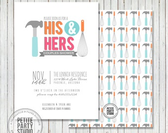 Couples Wedding Shower Party Printable Invitation - Petite Party Studio