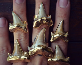 LUX DIVINE /// Chunky Shark Tooth Ring /// Gold Electroformed Ring