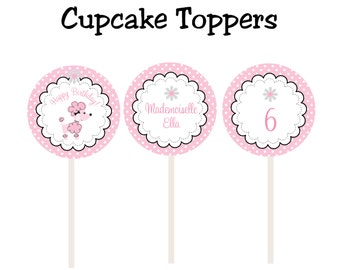 French poodle cupcake toppers  --  paris party cupcake toppers -- french poodle