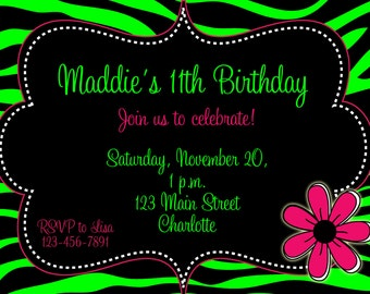 Lime Green Zebra Girls Birthday Party Invitation -- funky lime green and black  zebra print -- Printable