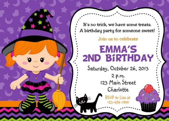 Halloween Party Invitation Purple Witch Halloween - Halloween birthday invitations party
