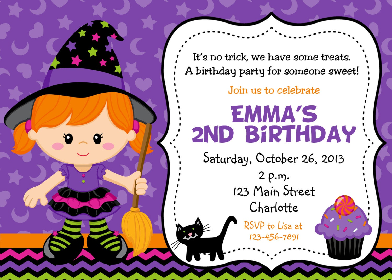 Halloween party invitation purple witch halloween