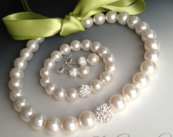 Back Ribbon Closure Pearl Bridemaids Bow Necklace, Bracelet & Earrings Set - Satin Ribbon in any color