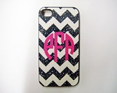 Cell Phone Case Personalized iPhone 4, 4S or 5 Hard Or Tough, iPod Touch 4 Or 5 Case, Black Glitter Non Metallic Chevron With Pink Monogram