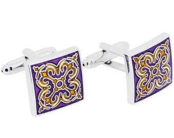 Purple Enamel Tracery Cufflinks 1200180