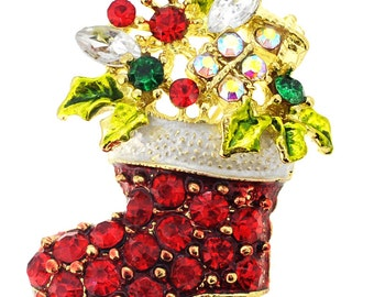 Red Christmas Boot Crystal Pin Brooch 1002971