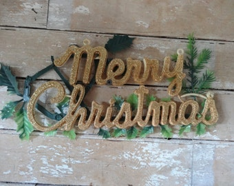Vintage Retro Merry Christmas Sign 1950's Fun