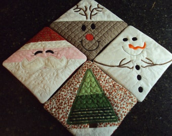Quilted & Embroidered Holiday Coasters, set of 4