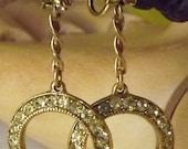 Vintage dangle hoop clip earring rhinestones.