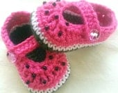 Mary jane watermelon baby girl booties - made to order - 4 sizes available