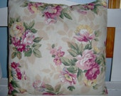 Pillow Cover  16 x16  Shabby Cottage  Chic  Tan with Roses  by MaBelleChicBoutique