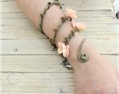 Peach Woodland Forearm, Woodland cuff, Bohemian bracelet, Floral forearm, Fairy bracelet, Flower Bracelet, Forest Elf Bracelet