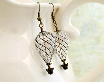Clear Steampunk Hot air Balloon Earrings with black and white stripes and brass accents - Steampunk jewelry - blown glass earrings
