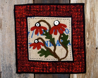 Flower Fabric Art Tile in Wool, Burlap and Cotton Table Runner Wallhanging or Candle Mat in Red and Black