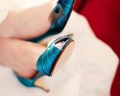 Wedding Shoes - Peacock Feather Shoes - Short Heel Shoe - Peacock Wedding - Peacock Blue Shoes - Low Heel Wedding Shoe - Teal Wedding Shoes