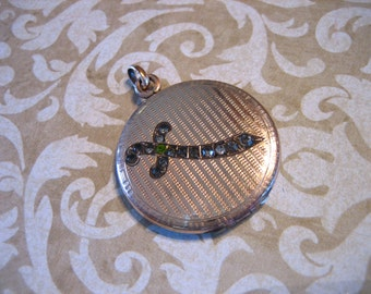 Art Deco Gold Filled Locket w Paste Stones SWORD and Monogram Back