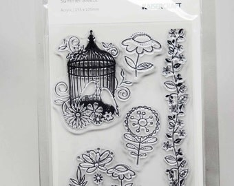KaiserCraft Summer Breeze Collection Clear Stamps -- Acrylic -- Vintage Birdcage Flowers Border Stamp