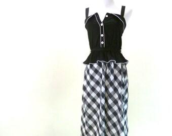 Vintage Black Peplum Dress / Summer Picnic Dress / Peter Pan Collar Dress / Wiggle Dress XS