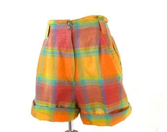 Vintage Orange Plaid Shorts / Cuffed Shorts / High Waisted Shorts / Cotton Shorts S M