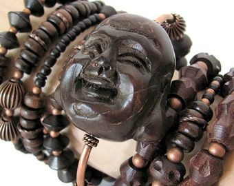 Huge Buddha bracelet set Buddha head jewelry laughing Buddha bracelet wood bracelets unusual Buddha jewelry Buddhist jewelry