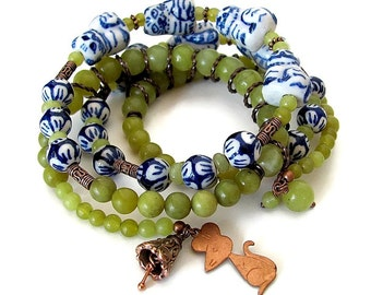 BELL the CAT unique cat lover gift for cat lover cat jewelry bracelet unusual jewelry porcelain and jade memory wire wrap bracelet cat gift