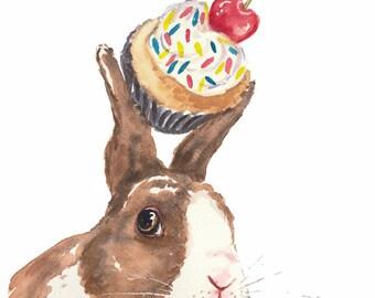 Rabbit Watercolor PRINT - 5x7 Print, Cupcake Watercolour, Kitchen Art, Bunny Rabbit