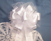 Wedding Anniversary Bow Handmade Shower Pew Celebration Gift Decoration Party Ribbon Reception White Silver Tulle