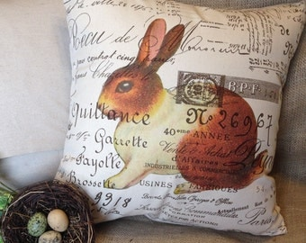 Pillow Cover Burlap and Canvas French Script Pillow Slip Bunny by Gathered Comforts