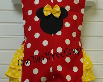 Custom Boutique Clothing Minnie Mouse Med  Red Yellow  Sassy Girl Jump Suit