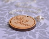"""She is fierce --- engraved 1-1/8"""" engraved wood charm necklace"""