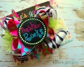 Back to School Rocks Boutique Style Hair Bow Black and White Zebra Turquoise Hot Pink Lime Green Marabou