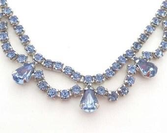 Vintage Blue Rhinestone B David Necklace - Something Blue for the Bride