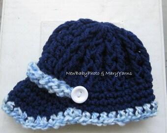 HAT Newborn Photoprop Girl Boy Hat - Navy Newsboy Visor Brim Cap Beanie Textured Crochet Baby Hat Knitted Infant PHOTOGRAPHY SHOOT