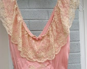 Vintage Lingerie / Vintage Bias Cut Nightgown / Lovely Lace Detailing / Arnold Constable Label NY Rosey Pink Nightgown