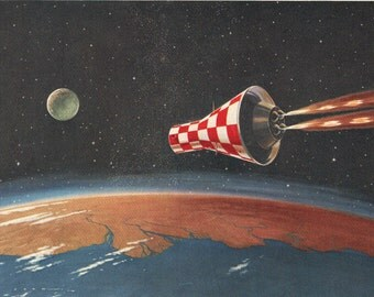 space capsule heading for the moon, 1960 outer space print for boy bedroom decor