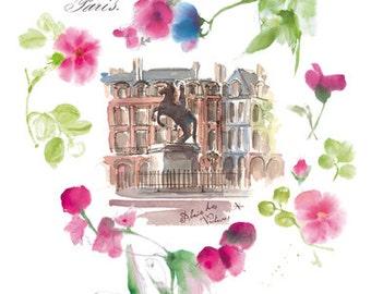 Paris decor, Place des Victoires watercolor illustration print, Valentine poster, Romantic french wall art, Paris architectural drawing