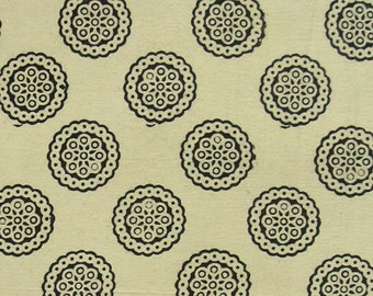 Cotton Fabric Print - black geometric motif on light beige - half Yard - ctsm077