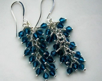 Silver and Teal Crystal Cluster Earrings Teal Earrings Teal Cluster Earrings