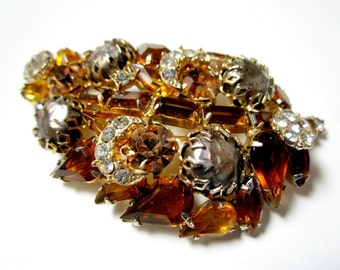 Vintage Rhinestone Brooch Large 2 5/8 Brown Faux Baroque Pearl Pin
