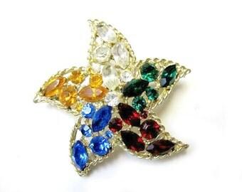 Rhinestone Starfish Brooch Rainbow Colorful Vintage Pin