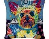 35% OFF- Yorkie Angel Art Pillow - Dog  -  Modern Abstract Art by Heather Galler (HG913)