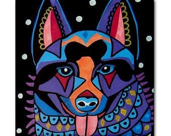 Schipperke art Tile Ceramic Coaster Mexican Folk Art Print of painting by Heather Galler Dog