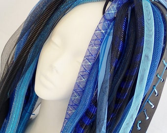Cyberlox Black Blue Full Length Space Case Tie In Hair Piece Wig Dread Falls Synth Cyberpop Cybergoth Cyber Goth Pop Punk Cyberpunk