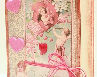 Valentine's Day Card - Looking for Love - Handmade Valentine's Day Greeting Card - Vintage Valentine's Day Card