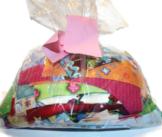 Eco Friendly Cotton Fabric Scrap Bag Craft Sew Quilt  One Pound Upcycle Ready to Ship