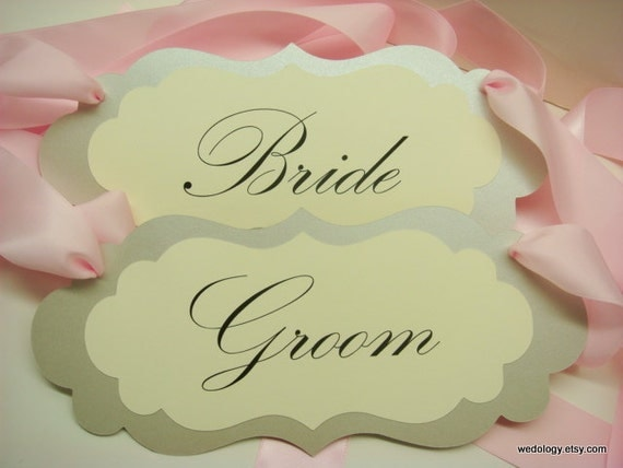 Bride and Groom Wedding Chair Signs Elegant Vintage Glamour in all of my Card Stock Colors