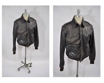 vintage leather jacket  A-2 bomber flight jacket a2