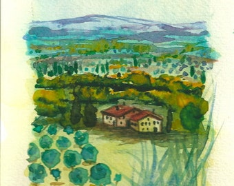 "Italian Landscape ART Painting Original Watercolor Landscape ""TUSCANY"" Italy  Italian Landscape & Scenic"