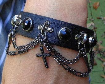 Awsome Goth Bracelet, Black Crystals,Black Chain, Black Crystal Cross, Studded Gothic Cuff Bracelet,Edwardian Fantasy,Neo Victorian,Unisex