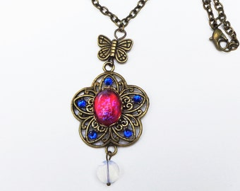 Mexican Opal Necklace, Vintage Opal Glass,Moonstone, Swarovski Crystal Necklace,Neo Victorian, Edwardian Fantasy,Steam Punk Goth,OOAK